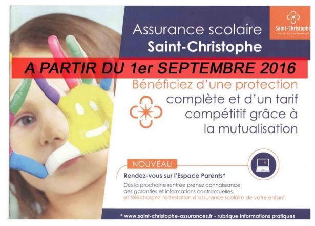 Mutuelle St Christophe à partir du 1er septembre